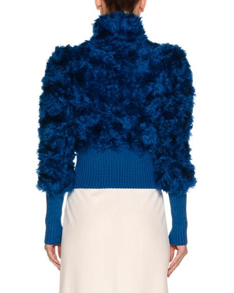 Rib-Trim Shearling Fur Jacket, Blue