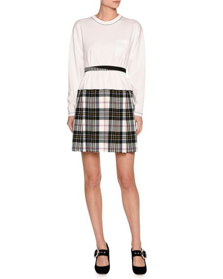 Long-Sleeve Jersey & Plaid Combo Dress, White