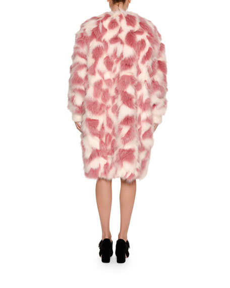 Fox Fur Shawl-Collar Coat, Pink