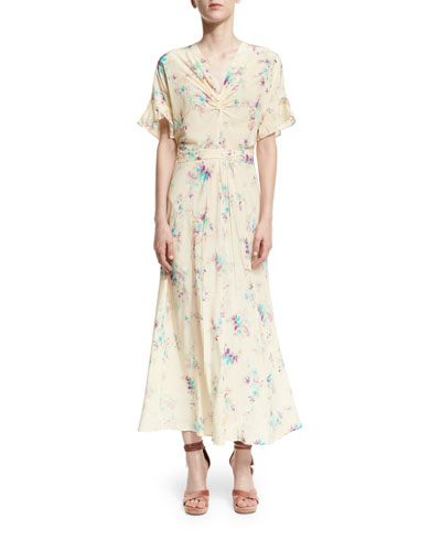 Floral Crepe de Chine Maxi Dress