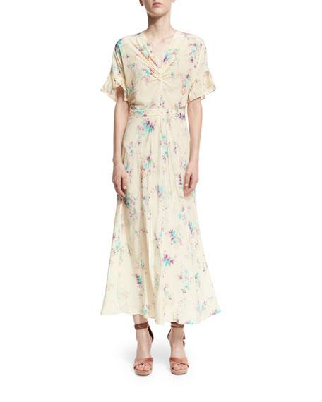 Floral Crepe de Chine Maxi Dress