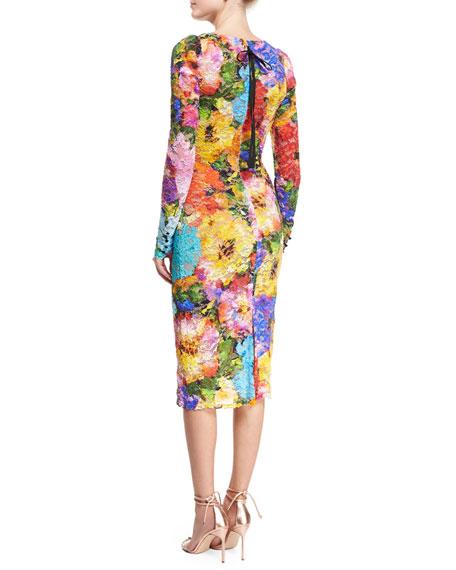 Floral Lace Long-Sleeve Sheath Dress