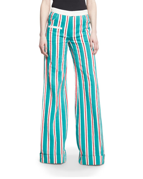 Ribbon-Striped B-Boy Pants, Green Blue