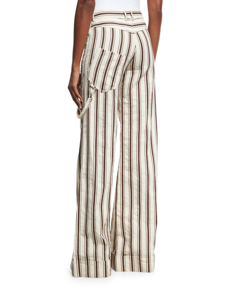 Striped Linen B-Boy Pants, Brown Pattern