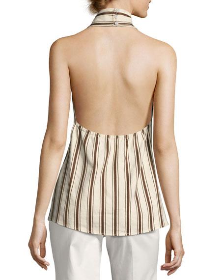 Striped Linen Halter Top, Brown Pattern