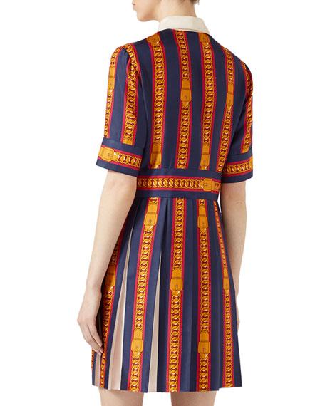 Printed Silk Twill Dress, White Pattern