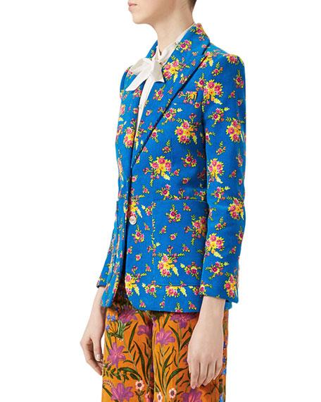 Bouquet Print Corduroy Jacket, Turquoise