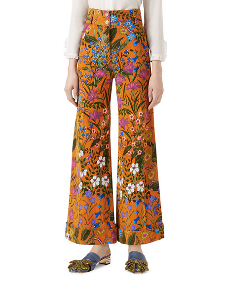 New Flora Print Corduroy Pants, Multicolor