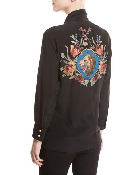 Silk Shirt with Garden Print