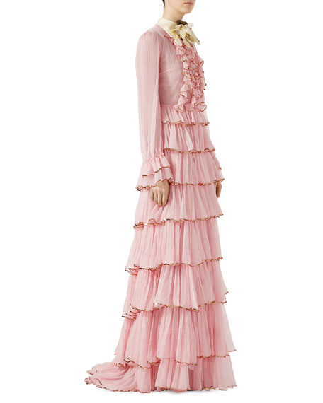 Chiffon Crepe Silk Gown, Light Pink