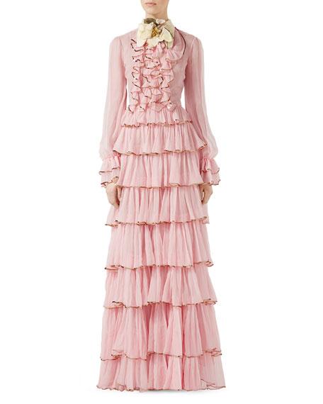 Chiffon Crepe Silk Gown, Light Pink