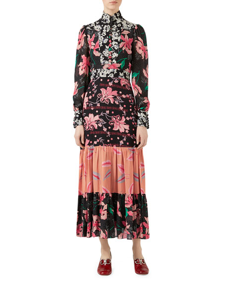 Patchwork Print Silk Sablé Dress