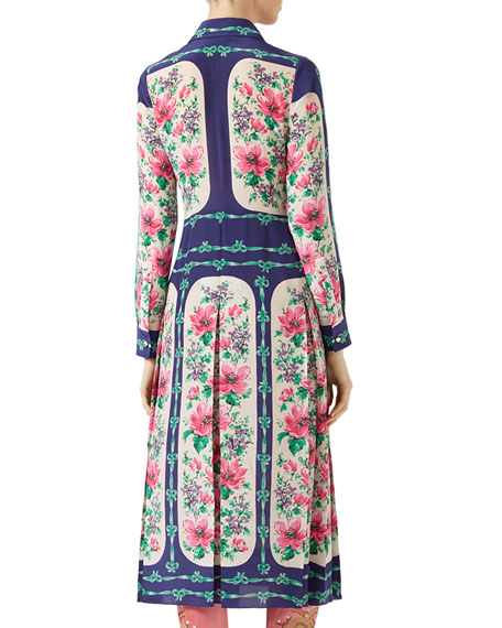 Rose Window Print Silk Dress, Multicolor