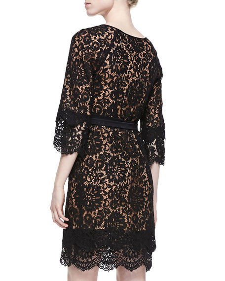 Tie-Waist Scalloped Lace Dress, Black