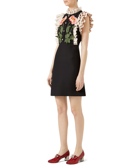 Gardenia Cady Crepe Dress, Black/White