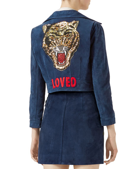 Washed Suede Jacket, Navy