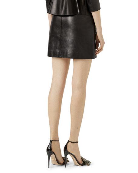 Leather Bow Mini Skirt, Black