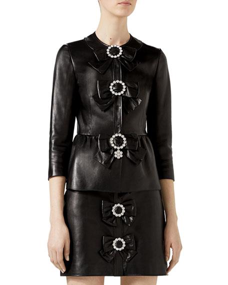Leather Bow Jacket, Black