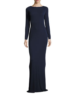 Ava Open-Back Column Gown, Navy