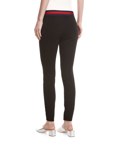 Compact Knit Leggings with Sylvie Web Belt, Black