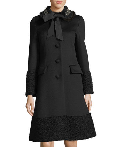 Embroidered Fur-Trim Wool Coat