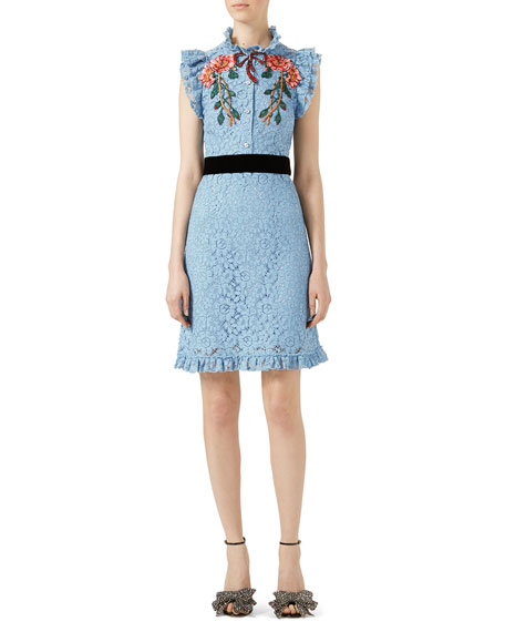 GUCCI EMBROIDERED CLUNY LACE DRESS, LIGHT BLUE, BLUE PATTERN