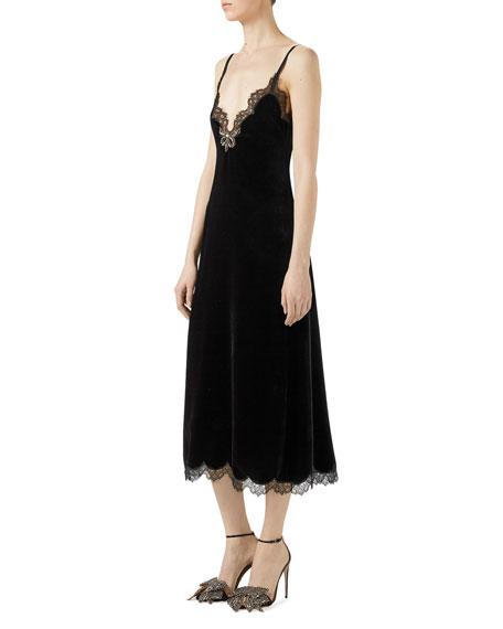 Velvet Lace-Trim Slip Dress, Black