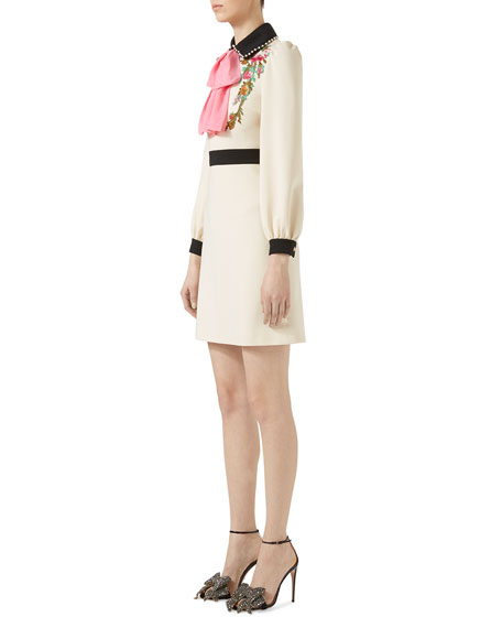 Embroidered Jersey Shirtdress, Multi