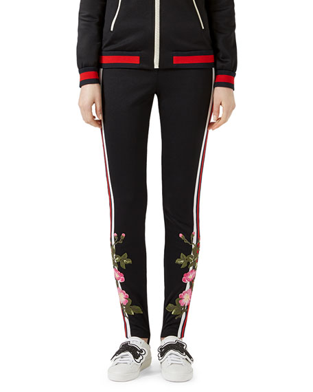 Embroidered Jersey Leggings, Black Pattern