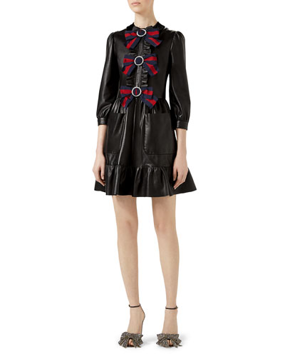 3/4-Sleeve Bow-Trim Leather Dress