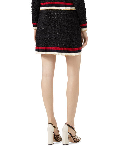 Knitted Skirt with Web, Multicolor