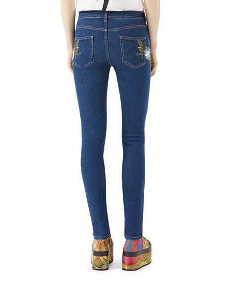 Floral-Embroidered Stretch Denim Jeans, Blue Pattern