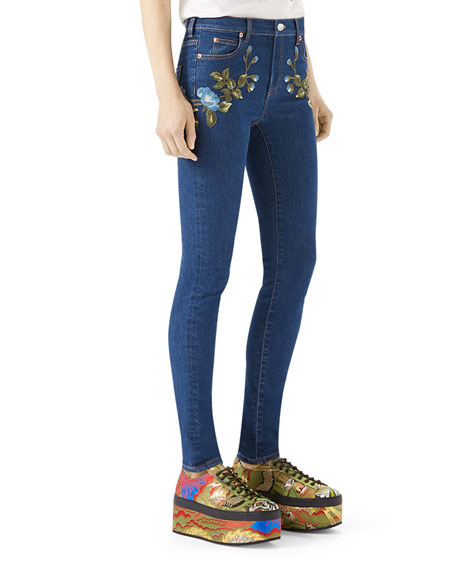 Floral-Embroidered Stretch Denim Jeans, Blue Pattern
