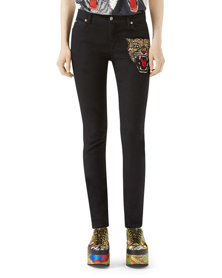 Angry Cat Embroidered Denim Pants, Black, Black Pattern