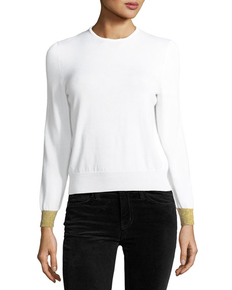 Cashmere Silk Knit Top with Detachable Collar