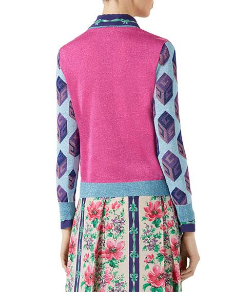 Metallic Cat Knit Sweater, Fuchsia