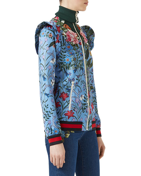 Marco New Flora Jacket, Blue Pattern