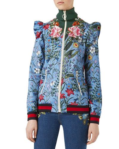 Marco New Flora Jacket, Blue Pattern