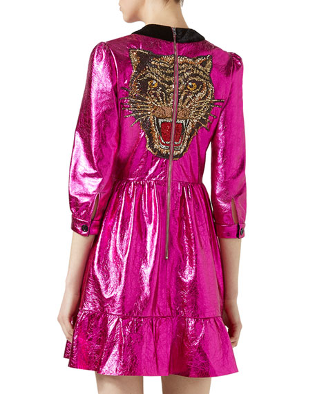Crackle Leather 3/4-Sleeve Dress, Fuchsia