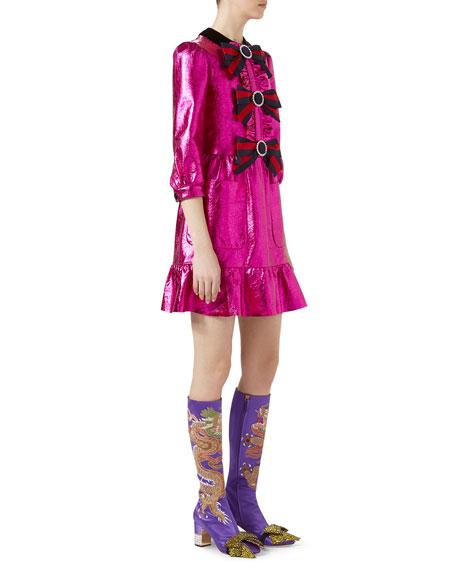 Crackle Leather 3/4-Sleeve Dress, Fuchsia