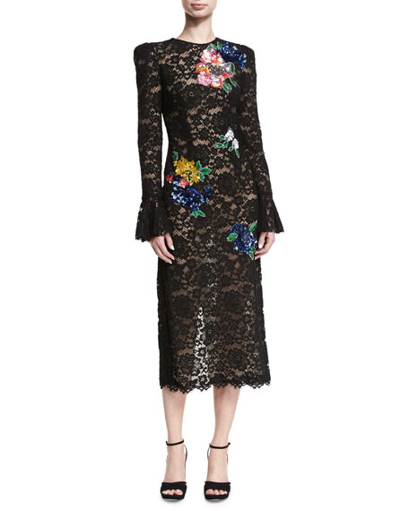 Sequined Floral Lace Midi Dress
