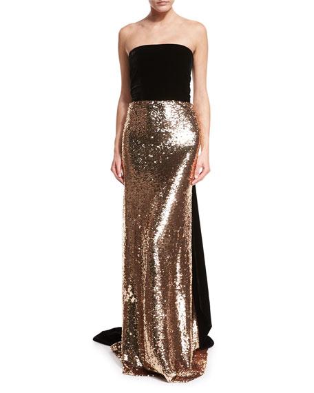 Strapless Velvet Sequined Column Gown
