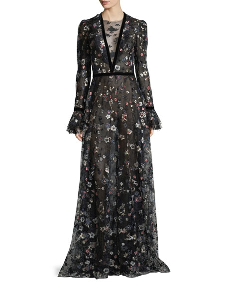 Long-Sleeve Floral-Embroidered Mesh Gown