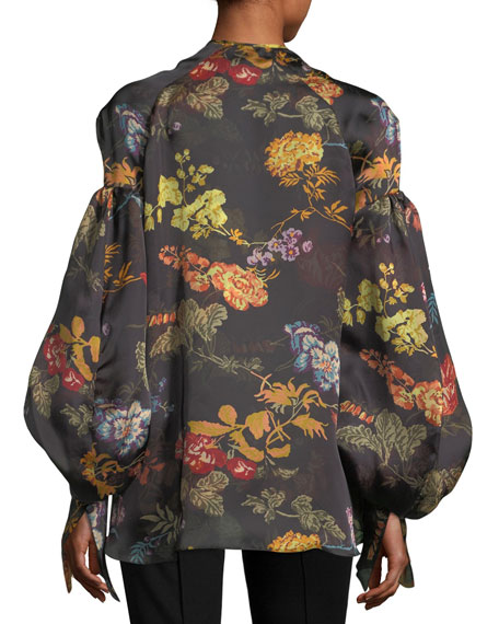 Swashbuckler Floral-Print Satin Top
