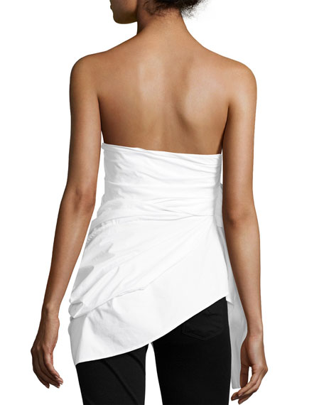 Strapless Cotton Bustier Top, White