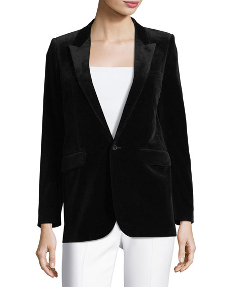 Velvet One-Button Blazer