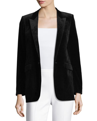 Velvet One-Button Blazer