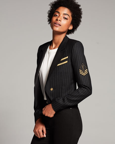 Pinstriped Wool Jacket, Navy