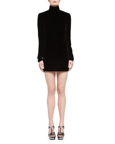 Open-Back Sable Turtleneck Dress, Black