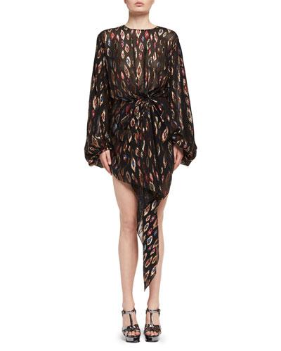 Peacock-Print Blouson Dress, Multi Pattern